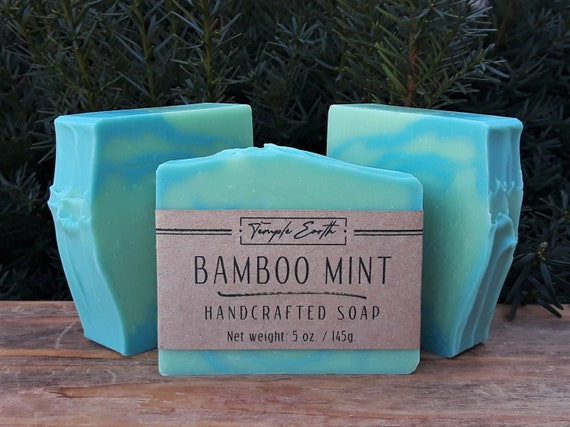 Bamboo Mint Soap with Cocoa Butter (5 oz.)  Handcrafted Organic Soap