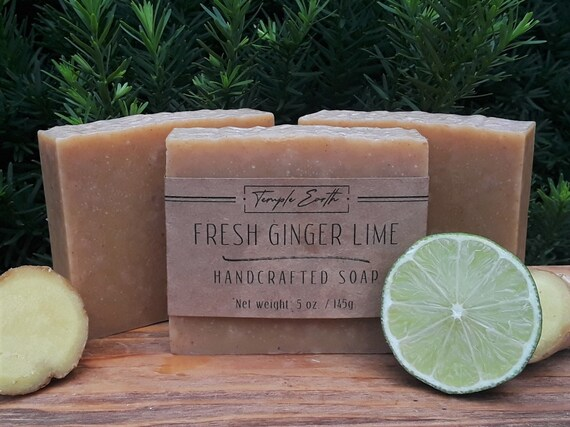Fresh Ginger Lime with Aloe Handcrafted Soap - All Natural made with Fresh Ginger and Aloe Vera Juice