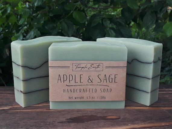 Apple Sage Handcrafted Soap with Shea Butter: Natural - Organic - Vegan