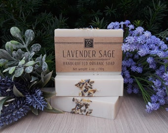 Lavender Sage Soap with Cocoa Butter (4 oz.) - Handcrafted Organic Soap