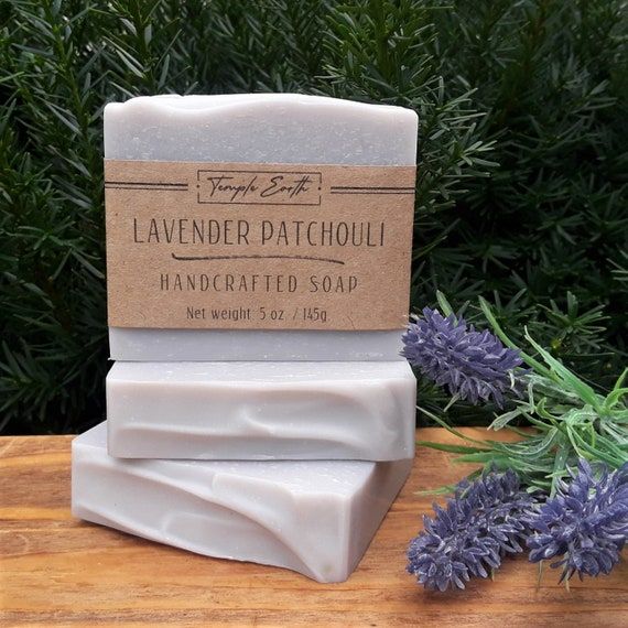 Lavender Patchouli Handcrafted Soap (5 oz.) - Natural Soap with Cocoa Butter