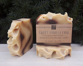 Sweet Vanilla Chai Soap with Shea Butter (5 oz.) - Handcrafted Organic Soap
