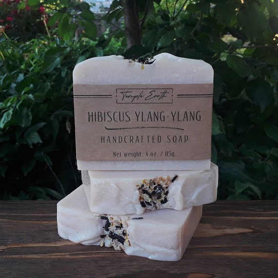 Hibiscus & Ylang-Ylang Handcrafted Soap with Shea Butter (4 oz.)  Natural - Organic - Vegan