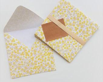 Set of 5 envelopes floral