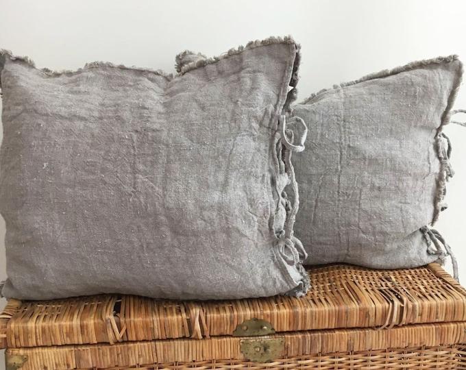 Burlap Pillow Covers, Farmhouse Shams, Throw Pillow Covers 18 x 18 Rustic linen shams Natural Raw linen sham covers Linen Pillowcases Burlap