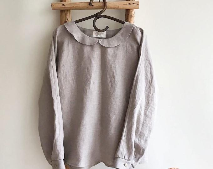 Linen blouse with Peter Pan collar, Linen Shirt Women, Long Sleeve Shirt, Linen Tee, Plus size shirt, Linen Blouse with Collar, Cute Top