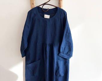Dark Blue Linen Dress, Linen Tunic Dress, Tunic for women, Plus size tunic, Loose Tunic Dress, linen dress for women, Black Dress, Loose