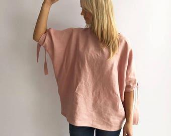 Loose linen top, Loose top, Linen Blouse, Loose Blouse, Linen Top, Linen Blouse, Batwing Blouse, Plus size top, Plus size linen, Plus top