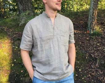 Mens Linen Shirt with Short Sleeves, Linen Polo shirt, men gift, Short Sleeved Shirt Boho Shirt Casual Natural Beach Wedding Plus size shirt