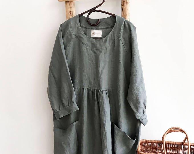 Loose Linen Dress, Linen Tunic Dress, Dress for women, Plus size Dress, Plus size tunic dress, linen dress for women Black Tunic Linen Dress