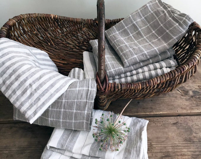 Set of Linen Towels, Three Natural Towels, Guest towels, Kitchen towels,  Rustic towels, Durable towels, Country house towels, tea towels