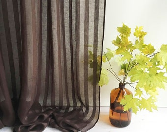 "102"" Wide curtain panel, Linen Curtain, Brown Curtains, Sheer Window Curtains and Drapes, Chocolate Curtains for living room, drapery"