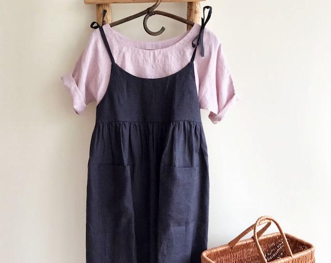 Linen Jumper Dress, Sundress, Linen Strap Dress, Womens Sundress, Plus Size Dress, Sleeveless Dress, Linen Dress Women Jumper Pinafore Loose