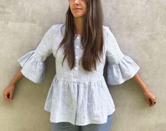 Linen Jacket with Ruffles, Fluted Sleeve Top, Linen Top with Ruffles, Buttoned Shirt, Striped Linen Top, Peplum Top, Linen Jacket Women