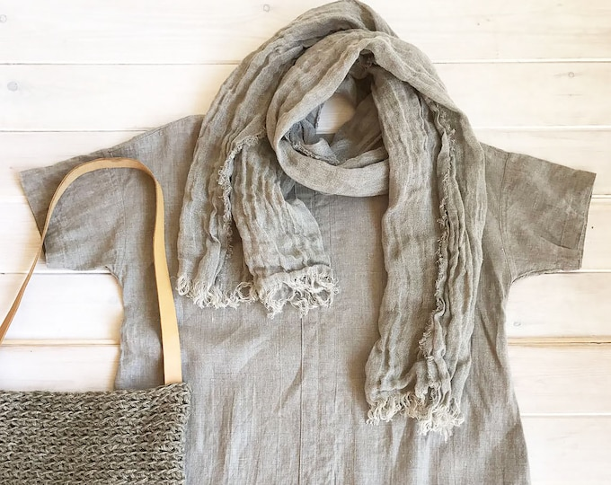 Natural Linen Scarf, Light Scarf, Taupe Scarf Linen, Soft Scarf, Scarf for Her Boho Scarf Pure Linen Scarf, Wrinkled Scarf Grey Beige