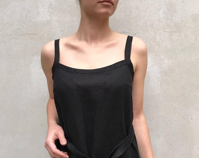 Black Linen Cami Dress, Linen Maxi dress Black, Base Layer, Slip Dress, Night Dress, Linen nightgown Strap dress Sleeveless linen dress