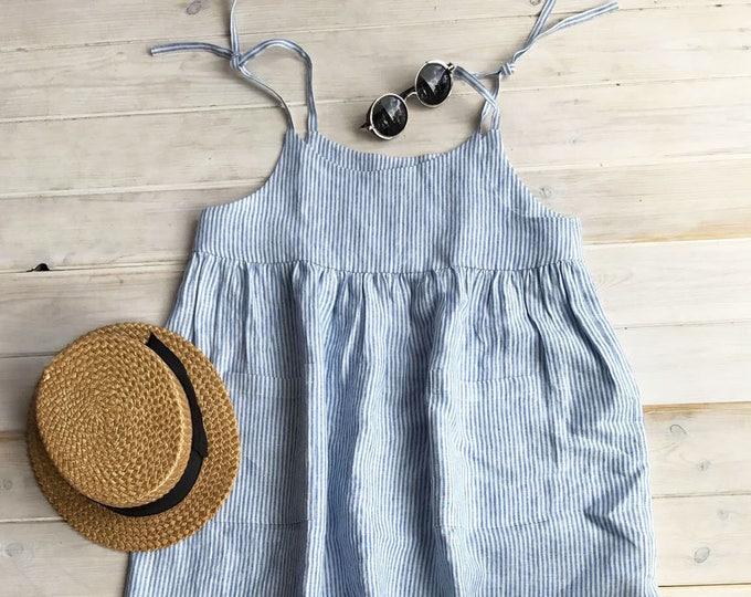 Striped linen Sundress, Linen Jumper Dress, Beach Dress, Sleeveless Dress, Linen Dress Women Jumper Pinafore Sundress, Linen Strap Dress