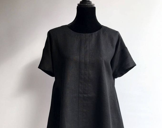 Simple and Versatile Black Linen Tunic with Short Sleeves Size S