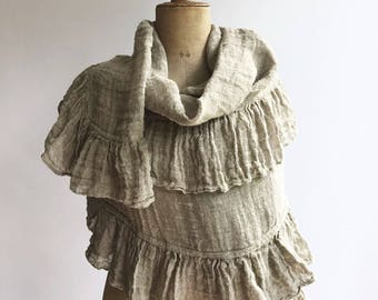 Wraps Shawl, Wedding Shawl, Womens Shawl, Linen Scarf With Ruffle, Gauzy Shawl, Extra long scarf, Pure linen wraps shawl, shawl with ruffle