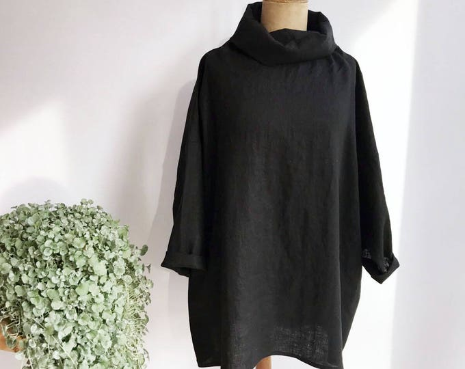 Linen Tunic with Raised neck
