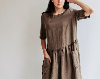 """Loose Linen Dress """"Jane"""" with Pockets"""