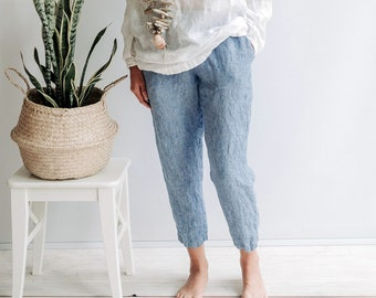 Pegged Linen Pants for Women