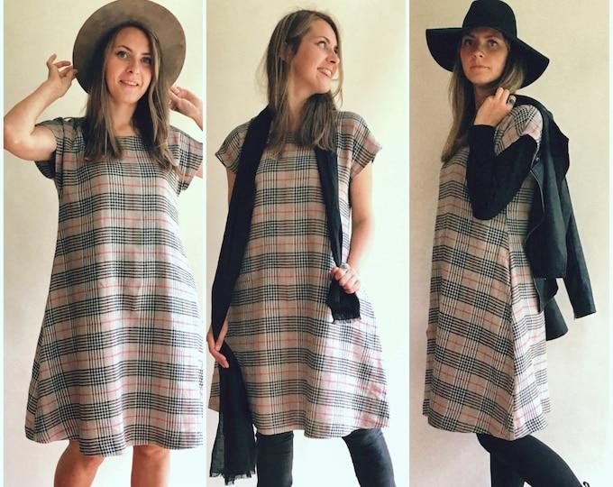 Warm Linen Dress, Autumn Dress, Mid Season Dress, Office Dress, Tartan Dress, Linen Plaid dress, XL dress, Plus size linen dress, Winter