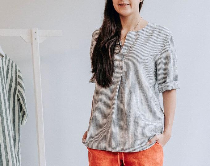 Linen Shirt for Women, Striped Linen Shirt, Womens Shirt, Linen Shirt, plus size shirt, Tunic Shirt, Linen Top, White Shirt Women Blouse