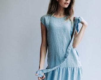 Drop Waist Dress from Linen, Drop Waist Maxi Dress, Dress Woman, Summer Dresses for Women, Linen Dresses for Women, Dress with Belt