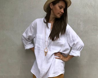Loose Womens Shirt, Linen Shirt, plus size shirt, Tunic Shirt, boyfriend shirt, summer shirt, light shirt, boho shirt, Linen Top, White