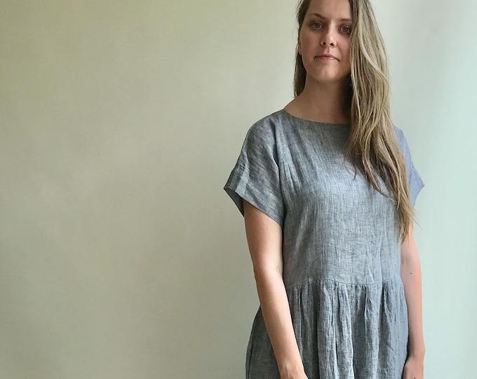 Ready to Ship: Size L Linen Maxi Dress Melange Grey Linen, Long linen dress, Linen Dress for women