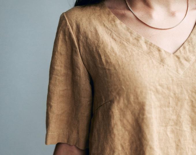 Linen Tops for Women, Linen T-shirt, Linen Top for Women, V Neck Top, T-shirt Linen, Linen Tee, Linen Tops for Plus Sizes, Linen blouse