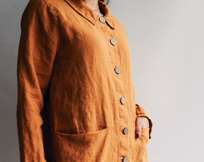Linen Smock Jacket 'Kim - Long' Linen Jacket, Long Linen Blazer, Womens Jacket, Linen Coats, Womens Linen Jacket Blazer, Linen Smock frock