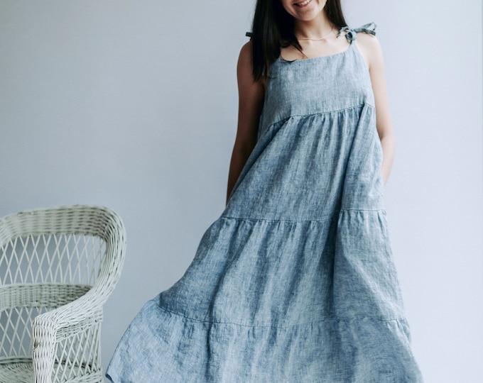"""Prairie Dress """"Elle"""" with Drawstring Neckline"""