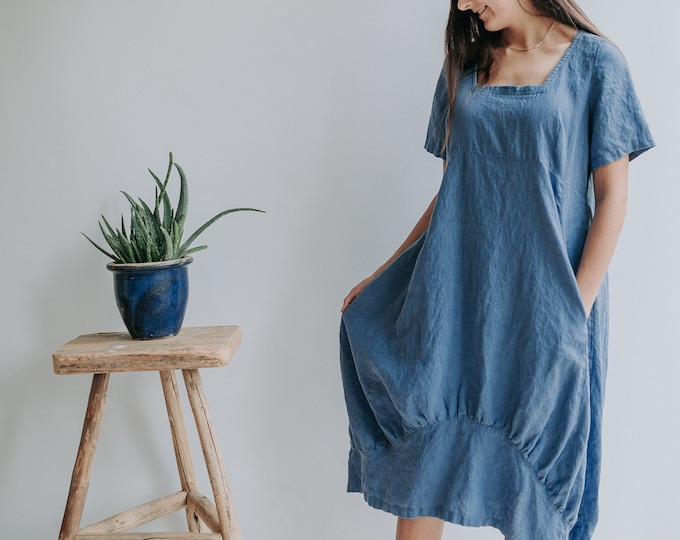 "Linen Dress ""Samantha"" with Sleeves"