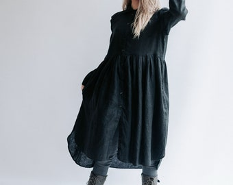 Linen Smock 'Lisa' with Long Sleeves, Button Up Dress, Linen Dress for Woman, Long Linen Jacket Linen coat Linen duster Plus size Maxi Linen