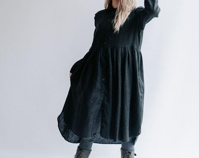 Linen Smock 'Lisa' with Long Sleeves, Button Up Dress, Linen Dress for Woman, Long Linen Jacket Linen coat Linen duster Plus size Maxi Linen