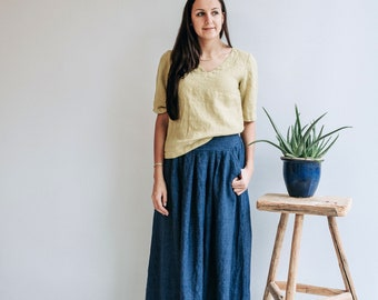 Linen skirts for women, Linen maxi skirt, Maxi skirt boho, Womens linen skirt, Maxi skirt boho, Dark blue skirt, Skirt with Pockets