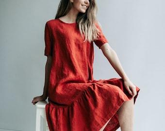 A line Drop Waist Dress 'Julia'  from Linen, Drop Waist Linen Dress