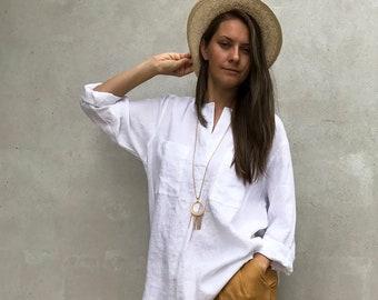 Ready to Ship: Size XXL White Linen Shirt Loose Womens Shirt, Linen Shirt, plus size shirt, Tunic Shirt, Summer shirt, light shirt Linen Top