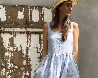 Button Up Maxi Dress, Sleeveless Linen Dress, Striped Pinafore Dress, Jumper Maxi Dress Plus Size Sundress Linen Dress Women Summer pinafore