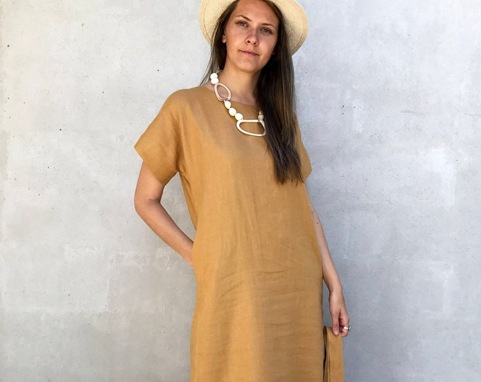 Long Linen Tunic Dress with Short Sleeves, Simple Linen Dress, Long Dress, Plus size Maxi Linen Dress, Long linen dress, Long Womens tunic