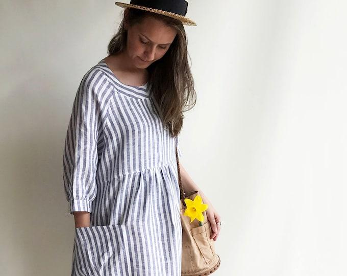 Striped Linen Dress, Summer Dress, Womens Dress, Plus Size Tunic Dress, Loose Dress, Linen Dress Plus size Linen Dress Woman with sleeves