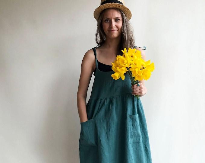 Linen Sundress, Linen Strap Dress, Womens Sundress, Linen Jumper Dress, Plus Size Dress, Sleeveless Dress, Linen Dress Women Jumper Pinafore