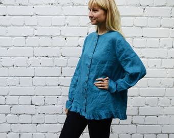 Linen Button up blouse with Ruffle, Loose Linen Jacket women, Linen Top with buttons, Linen Jacket Women, Plus Size Jacket Top Linen