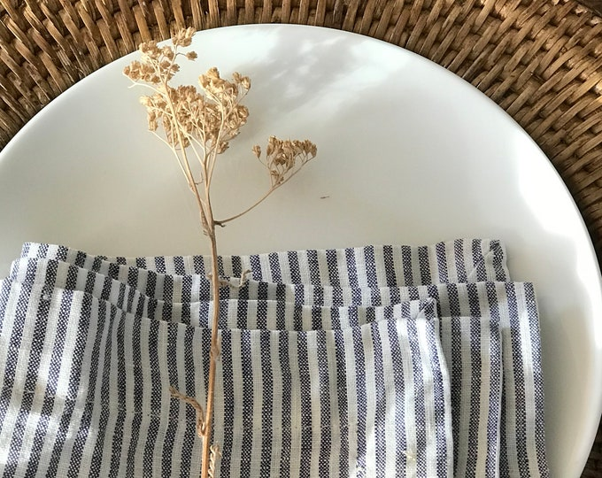Set of 14 Striped Linen Napkins, linen napkins, cloth dining napkins, grey blue white napkins, eco friendly wedding napkins, striped napkins