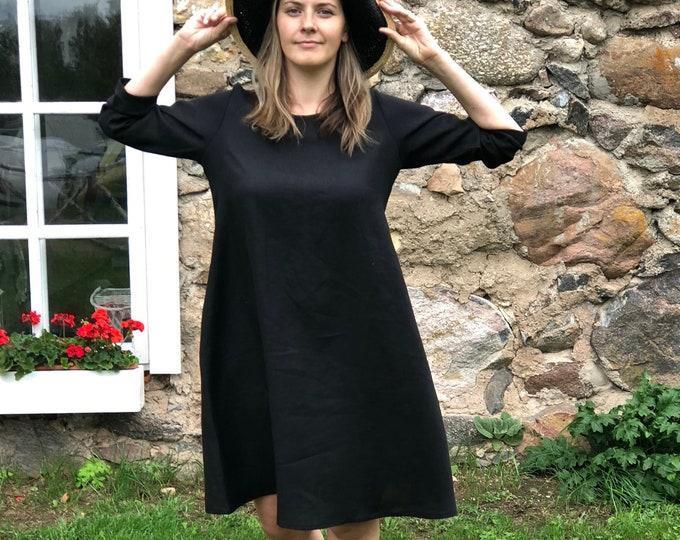 "Little Black Dress ""Eva"" Black Linen Dress, Linen dress for women, Black Dress Linen, Loose Linen Tunic Dress, Plus size dress"