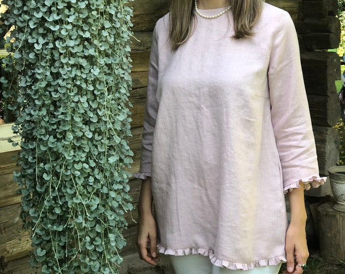 Linen Tunic with Ruffles 'Shirley', elegant linen tunic top, linen tunic for women, linen blouse woman, formal linen tunic ruffled, chic top