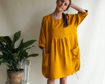 Linen Dress for Women, Dress with Sleeves, Womens Dress, Plus Size Tunic Dress, Loose Dress, Linen Dress Plus size Linen Dress Woman