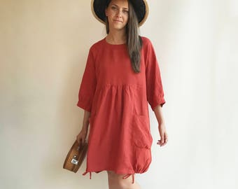1253bd7afb6 Loose Linen Dress in Clay Orange, Linen Dress Plus size Linen Dress Linen  Dress for Women, Dress with Sleeves, Womens Dress, Tunic Dress